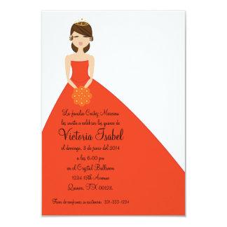 "spanish ORANGE PRINESS quinceañera invitation 3.5"" X 5"" Invitation Card"