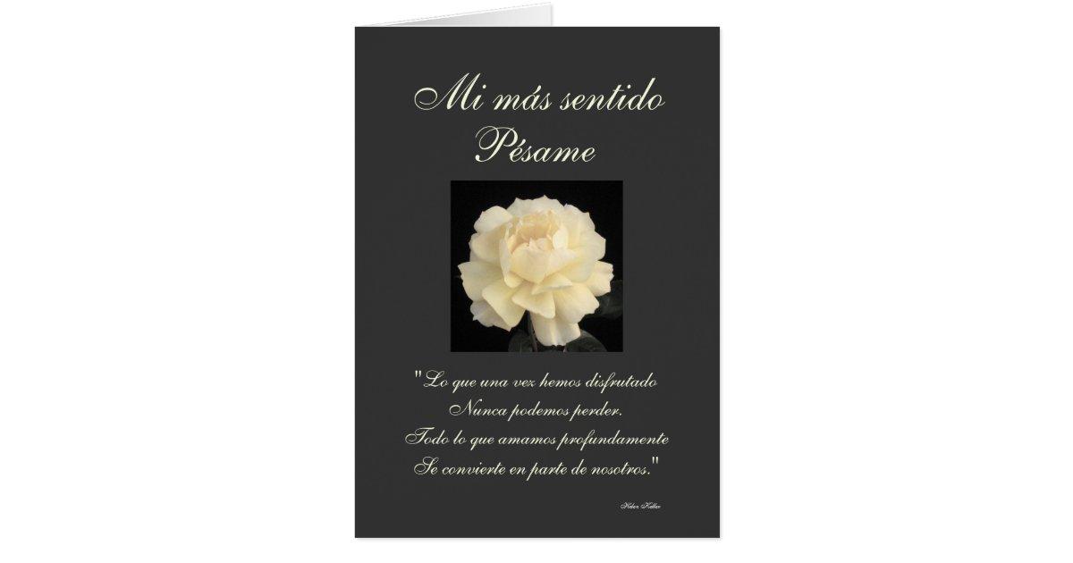 Spanish: Pesame B&W sympathy card   Zazzle.com