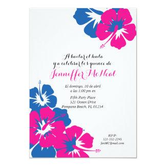 spanish pink blue QUINEANERA LUAU birthday Card