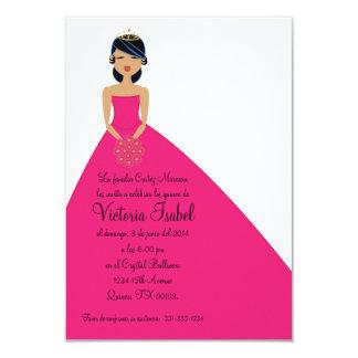 "spanish PINK PRINCESS quinceanera invitation 3.5"" X 5"" Invitation Card"