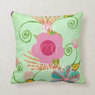 Spanish Pink Rosa Spring Flower XOXO Text Princess Throw Pillow