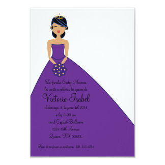 "spanish PURPLE PRINCESS quinceañera invitation 3.5"" X 5"" Invitation Card"