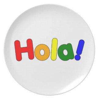 Spanish Rainbow Hello Espanol Iris Hola Plates