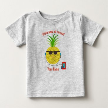 """Beach Themed Spanish """"Ready for Summer"""" T-Shirt with Pineapple"""