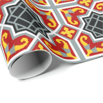 Spanish red and yellow octagonal pattern wrapping paper