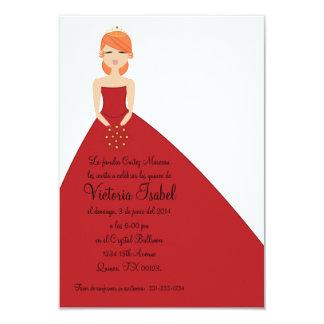 """spanish RED PRINCESS quinceañera quince invitation 3.5"""" X 5"""" Invitation Card"""