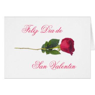 Spanish: red rose-Valentine's day Card