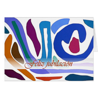 Spanish Retirement Blue Orange Abstract Art Card