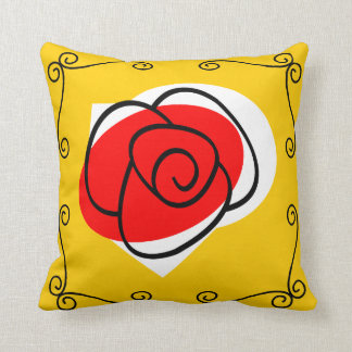 Spanish Rose corners red back pillow square