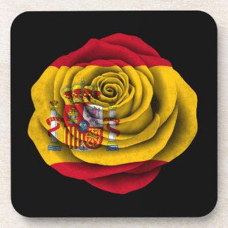 Spanish Rose Flag on Black Drink Coaster