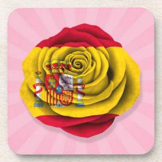 Spanish Rose Flag on Pink Coasters