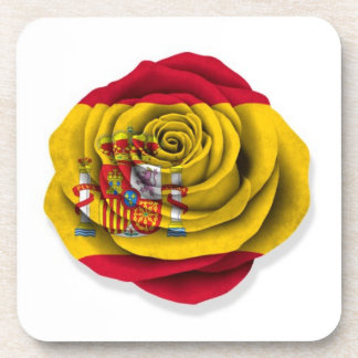 Spanish Rose Flag on White Beverage Coaster