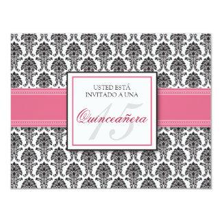 SPANISH Rose Pink Damask Quinceañera Invitación Card
