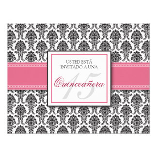 SPANISH Rose Pink Damask Quinceañera Invitación Personalized Announcement