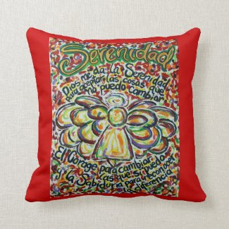Spanish Serenity Prayer Angel Decorative Pillow