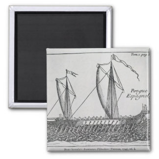 Spanish Ship' 2 Inch Square Magnet