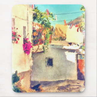 Spanish Side Street Watercolor Mouse Pad
