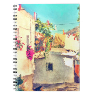 Spanish Side Street Watercolor Spiral Notebook