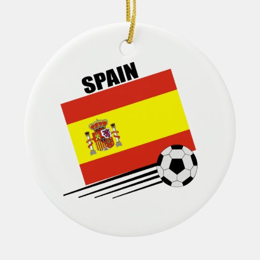 Spanish Soccer Team Double-Sided Ceramic Round Christmas Ornament