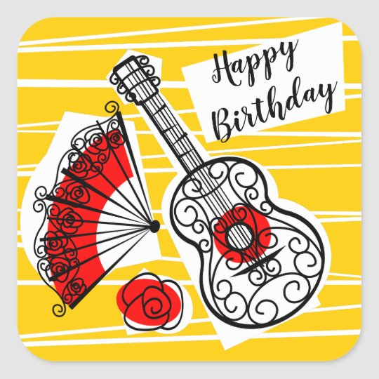 Spanish Souvenirs Happy Birthday Sticker Square