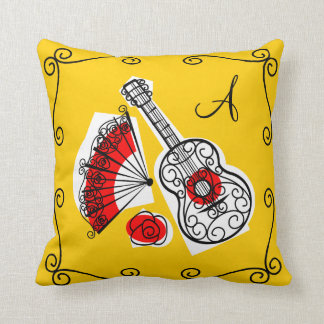 Spanish Souvenirs monogram corners pillow square
