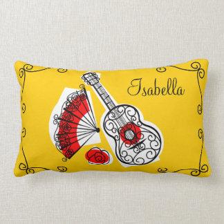 """Spanish Souvenirs """"name"""" corners red back lumbar Pillow"""