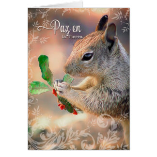 Spanish Squirrel and Holly Peace on Earth Card