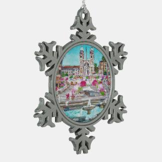 Spanish Steps - Pewter Snowflake Ornament