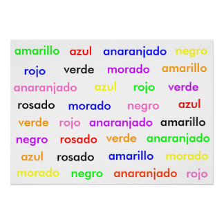 Spanish Stroop Effect Poster Posters