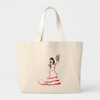 spanish sugar skull dancer large tote bag