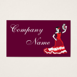 spanish sugar skull dancer : plum red business card