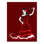 spanish sugar skull dancer post cards