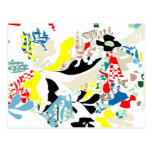 Spanish summer abstract post cards