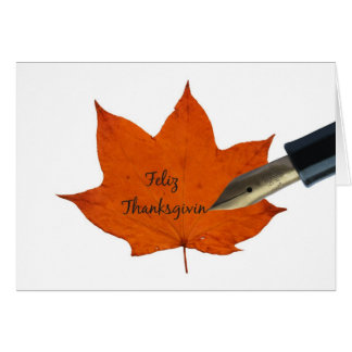 spanish thanksgiving maple leaf greeting card