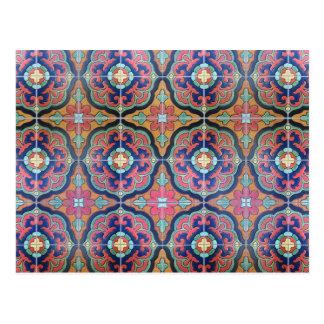 Spanish Tile Floret - Orange and Blue Postcard