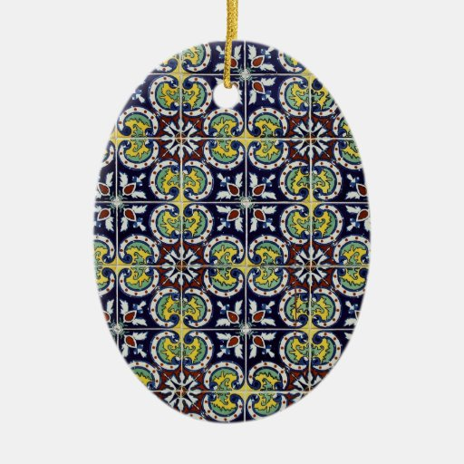 Spanish Tile in Mexico Double-Sided Oval Ceramic Christmas Ornament