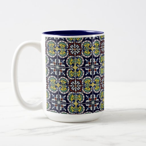 Spanish Tile in Mexico Two-Tone Coffee Mug