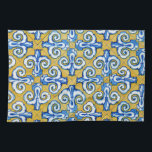 "Spanish Tile Towel<br><div class=""desc"">The Spanish have the coolest designs. I am especially fond of this one as it is blue &amp; yellow,  the colors of the Swedish flag.</div>"