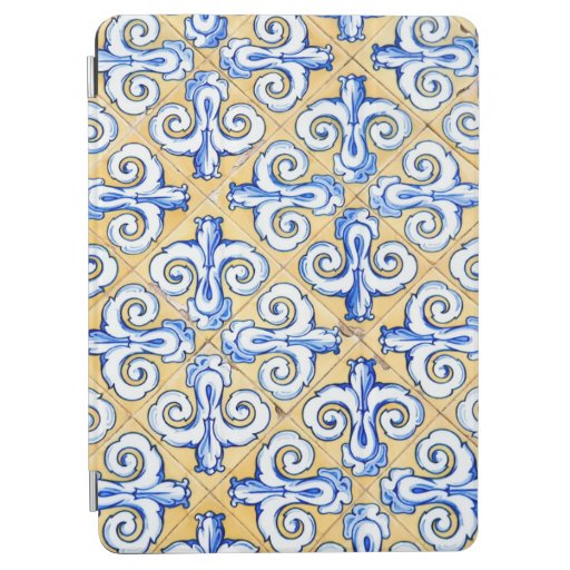 Spanish Tiles - Azulejo Blue, Yellow and White iPad Air Cover