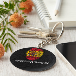 Spanish touch fingerprint flag keychain