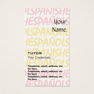 Spanish Tutor Appointment Business Cards