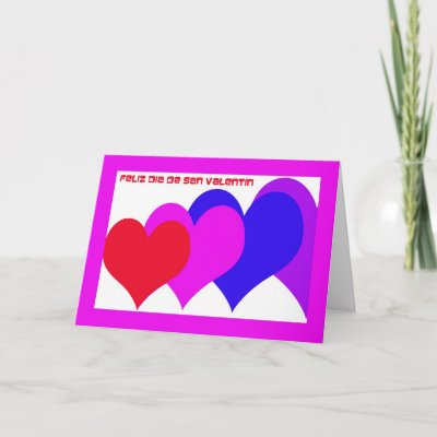 Spanish Valentine Card by KathyHenis. This multi colored heart design has