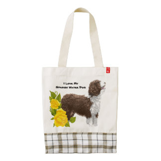 Spanish Water Dog and Yellow Roses Zazzle HEART Tote Bag
