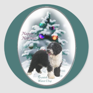Spanish Water Dog Christmas Gifts Round Stickers