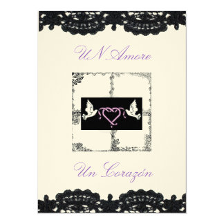 "Spanish Wedding Invitation ""Doves and Ribbons"""