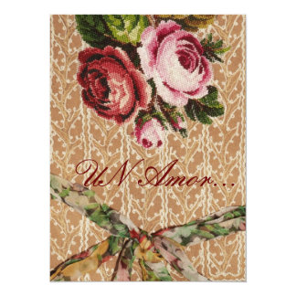 "Spanish Wedding Invitation"" Tapestry & Roses"" Card"
