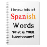 spanish words notebook
