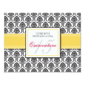 SPANISH Yellow Damask Quinceañera Invitación Card