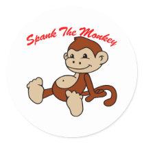 Spank The Monkey Classic Round Sticker