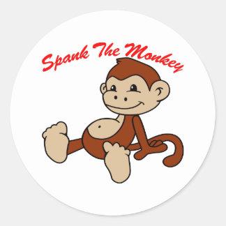 Spank The Monkey Round Sticker